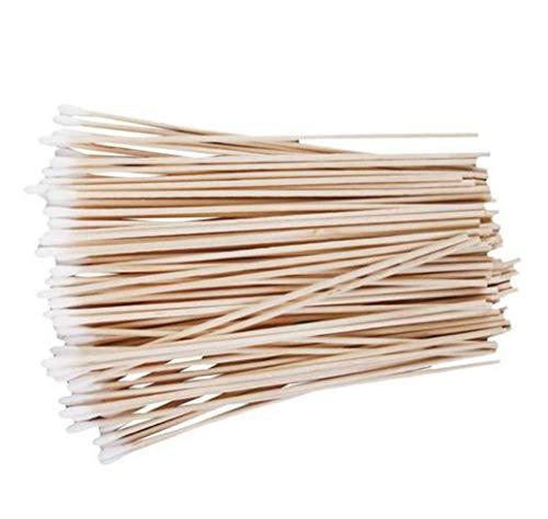 Teydhao 100 Stücke Langer Holzgriff Wattestäbchen Reinigungsstäbchen Applikator Medical Tupfer, Hygienisch Verpackt, Profi Qualität für Make-up, Reinigung, Polieren - Einzelkopf -