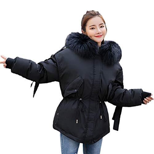 Gallity Damen Warmer Daunenmantel mit Kapuze und Reißverschluss L schwarz -