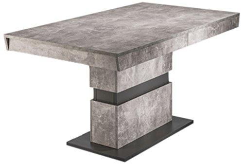 CAVADORE Esszimmertisch MARLEY / moderner Küchentisch 140 cm mit Auszugsfunktion auf 200 cm / Auszugstisch in Light Atelier Beton Optik grau / 140-200 x 90 x 75cm (LxBxH)