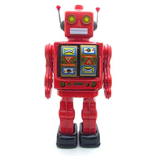 Juguete-de-Cuerda-Hojalata-Metal-Patrn-Robot-Caminante-Rotacin-de-Coleccin