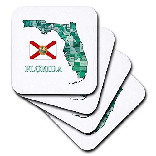 3dRose CST 180531777images Flaggen und Karten-Staaten-Bunte Karte und Flagge von Florida mit alle countys-Untersetzer, Gummi, set-of-8-Soft (Karte County Von Florida)