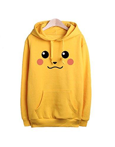Frau Herren Paar Pullover Pokemon Pikachu Kapuzenpullover Kostuem Hoodie C Gelb