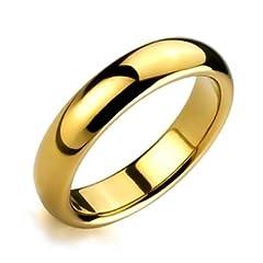 Idea Regalo - Bling Jewelry Coppie Cupola Fede Nuzia Lucidati 14K Placcato Oro Anello di Tungsteno Peri Uomini per Donne Il Massimo Comfort 6Mm