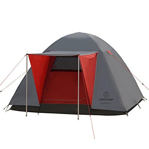 Justcamp Austin 3 Campingzelt (inkl. Aufstellstangen) 3 Personen Iglu Kuppel-Zelt mit Vordach - grau