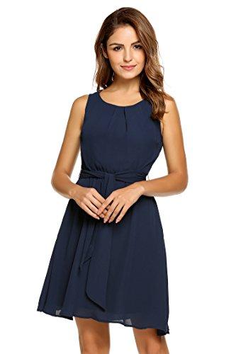 ACEVOG Damen Feminines Kleid aus zartem Chiffon Brautjungfernkleid im Empire-Stil Partykleid Hochzeit Kleid A-Linie Kleider Ärmellos Knielang