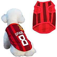 SymbolLife Dog Clothes Football T-shirt Dogs Costume National Soccer World Cup FIFA Jersey for Pet Spain