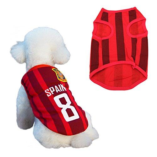 Hunde Trikot Fußball Jersey T-Shirt für Hunde Katzen Kostüme Haustier Weltmeisterschaft Weihnachtsmannkostüm Kleidung Haustierhundekleidung Spanien (L, Rot) (Fußball Themen Kostüm)