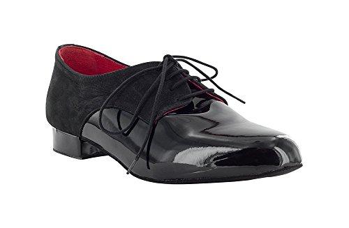 Dancin Scarpa da Ballo Stringata in Vernice e Nabuck Nero, Modello Derby, Tacco 2,5 cm Nero