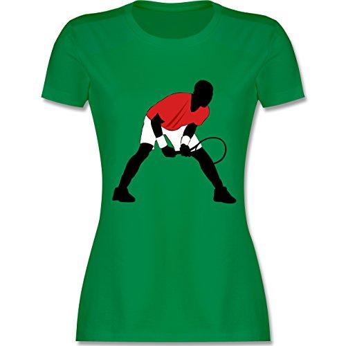 Tennis - Tennis Squash Aufschlag Annahme - tailliertes Premium T-Shirt mit Rundhalsausschnitt für Damen Grün
