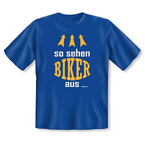 Witziges Biker Sprüche T-Shirt - So sehen Biker aus! Goodman Design® Cooles Geschenk für Motorradfreunde! Royal-Blau