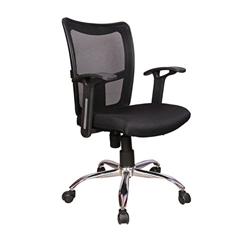 Rajpura Brio Medium Back Revolving Chair with push back mechanism in Black Fabric and mesh/net back Office Executive Chair