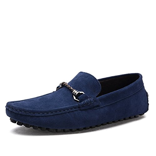 Minitoo Men's Confort Taille Loafers Penny Chaussures bateau en daim Bleu - bleu