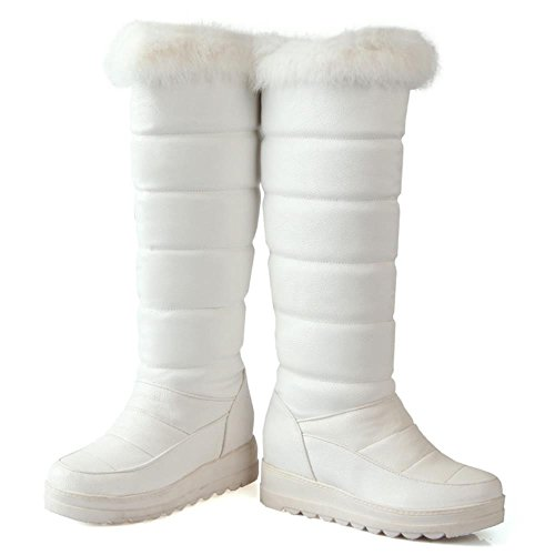 COOLCEPT Women Mode-Event Artificial Fell Hoch Niedrige Schnee Stiefel Weiß