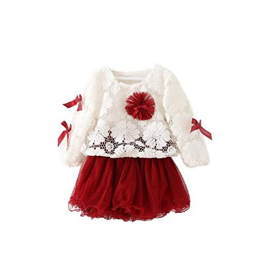 Crochet Detail Knit Kleid (CuteRose Little Girls' Crochet Cover-up Long-Sleeve Princess Party Dresses Wine Red 70)