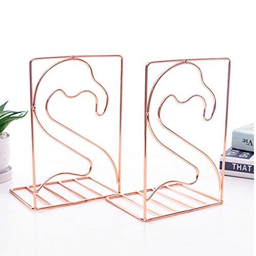 Buchstützen Kreative geformte Metall Buchstützen Book Support Stand Schreibtisch Veranstalter Lagerung Inhaber Regal Gold Schreibtischzubehör & Ablage (Color : Rose gold, Größe : A) -