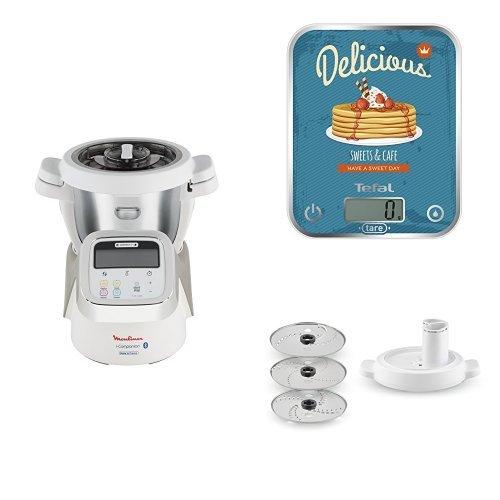 Moulinex HF9001 i-Companion Robot Multifunzione da Cucina + Tefal Optiss Delicious Pancakes Bilancia da cucina + Moulinex XF3831 Accessorio Taglia Verdura per Cuisine Companion, 3 Dischi, 5 Funzioni