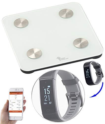 newgen medicals 7in1-Körperanalysewaage mit Premium-GPS-Fitness-Armband FBT-110.HR