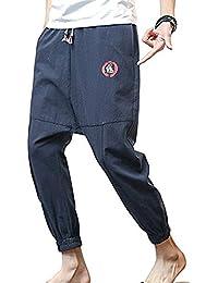 10a6072242 Hibasing Pantalones Holgados para Hombres Entrepierna caída Pantalones  Casuales Cintura elástica de cordón Pantalones ...