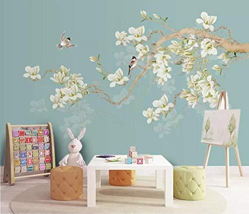 Murale Hd Sfondo Parati Carta Da Parati Personalizzata 3D Gong Yu Magnolia Tv Sfondo Muro Dipinto A Mano Fiori E Uccelli Nuova Carta Da Parati Cinese 3D Murale 300 * 210 Cm