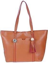 Fur Jaden Tan Tote Handbag For Women With Zip