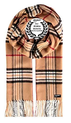 ADAMANT Herren Schal | MADE IN GERMANY | Verschiedene Muster, Camel, 180cm lang x 30 cm breit