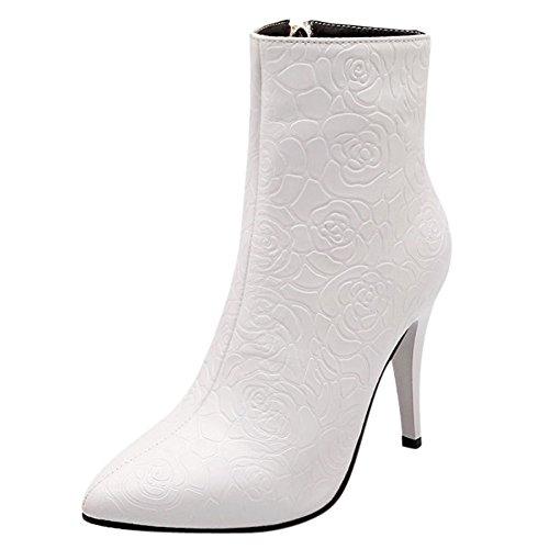 Damen Kurzschaft Stiefel Stiletto Spitze Reißverschluss Sexy Klub Plateau High Heels Geblümt Warm gefüttert Weiß