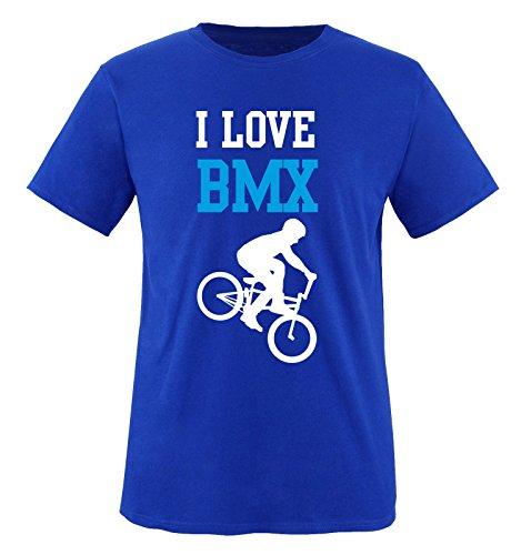 I Love BMX - Kinder T-Shirt - Royalblau/Weiss-Blau Gr. 134-146