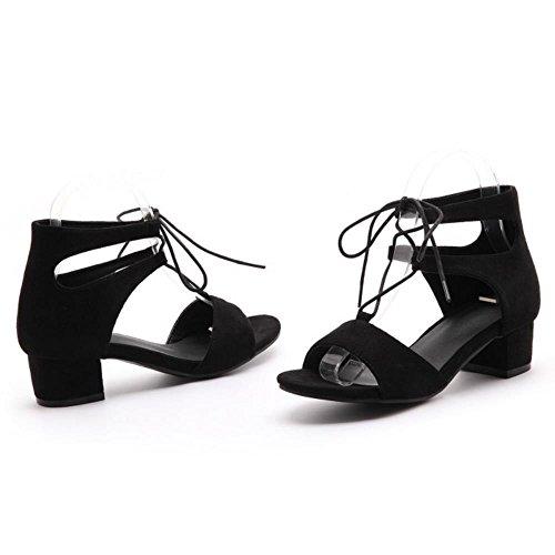 COOLCEPT Femmes Mode Ankle-Wrap Chunky Heel Sandales Fille Ecole Gladiateur Chaussures Noir