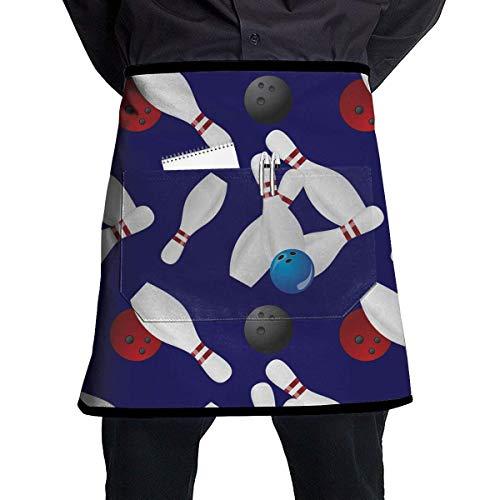 SDGSS with Pocket Schürze,Kitchen 2 Pockets Waist Apron (Bowling Ball) - Restaurant Half Aprons Men, Women, Chef, Baker, Servers, Waitress, Waiter, Bartender, Craftsmen and Money Schürze, Check Holder (Bowling Womens Ball)