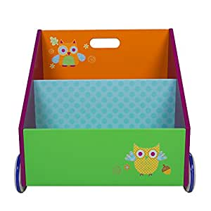 Labebe Mobili Cameretta Bambini 2-in-1 Libreria Portabilie con Ruote di Legno Doppio Uso come Carellino Primi Passi, Robusto Regalo Creativo Di Compleanno - Guffo Verde