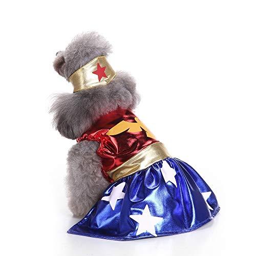 Eyxia-Pet-Master Hundekostüm Halloween Hoodie Mäntel Haustiere Overalls Wonder Woman Haustierkostüm (Color : SDZ20, Size : S) (Wonder Haustier Kostüm)