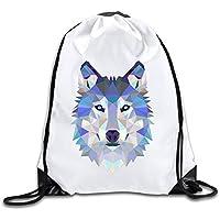 ewtretr Bolsos De Gimnasio, Triangle Wolf Drawstring Backpack Bag