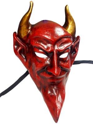 Deluxe handgefertigt Teufel Venezianische Full Face Maske in rot ideal für Halloween Maskiert Bälle