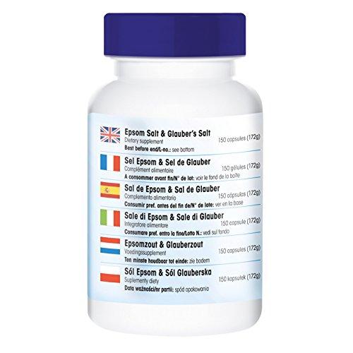 Bittersalz & Glaubersalz, Magnesiumsulfat und Natriumsulfat, vegan, 150 Kapseln, ohne Magnesiumstearat