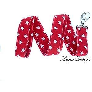 Schlüsselband rot weiße Sterne Handmade