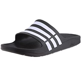 adidas Duramo Slide, Men's Open Toe Sandals, Black (Black/White/Black), 13 UK (48 2/3 EU)