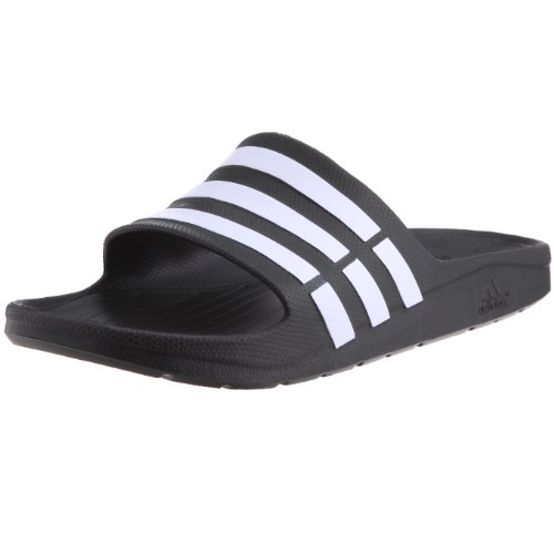 adidas Men's Duramo Slide Black and White Flip-Flops and House Slippers - 10 UK