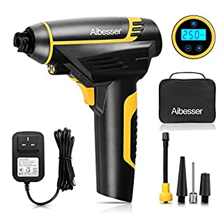 Aibesser Cordless Tyre Inflator Air Compressor Car Tyre Pump Electric Portable with LED light Digital LCD Display Rechargeable Li-ion 12V 2200mAh 150PSI for Cars,Bikes,Ball, inflatable toys