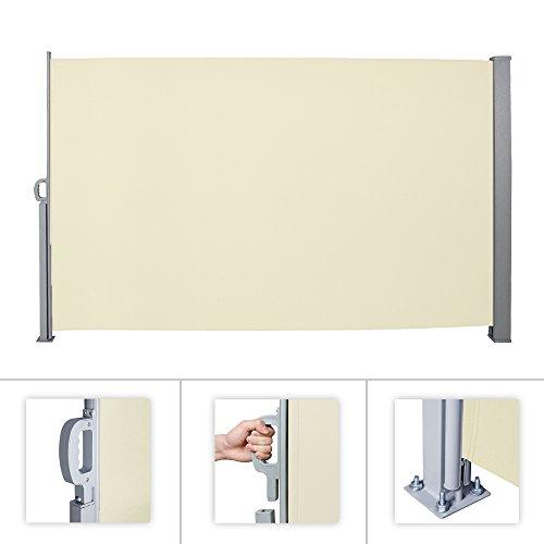 HG® 180x300cm Sichtschutz Seitenmarkise Windschutz nkl. Montagematerial ausziehbare Polyester Markisenstoff Terrassenwindschutz für Camping Balkon beige