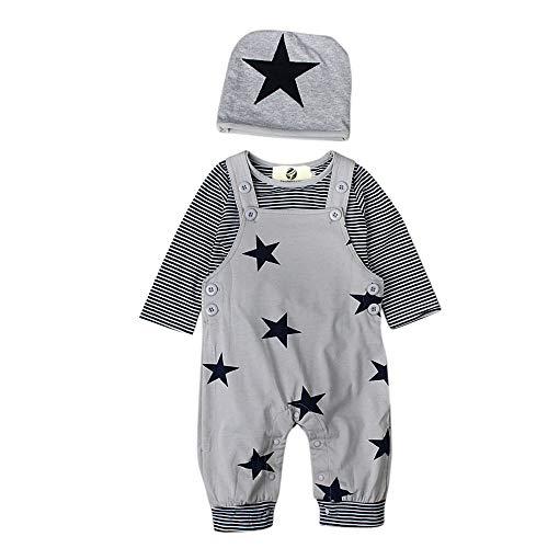 T TALENTBABY Prämie Reine Baumwolle Set Kleidung, Neugeborenes Baby Strampler Star Kleidung Sets, Hosen Tops Hut Cute Jumpsuit Outfit Body, Grau(9-12 Monate/90)