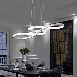 Tatosun LED Pendant Lamp Dimmable Modern style, LED Hanging Lampe White, 3500K-6500K, Remote control dimming, 58W, Adjustable height, Acrylic, Aluminium, White