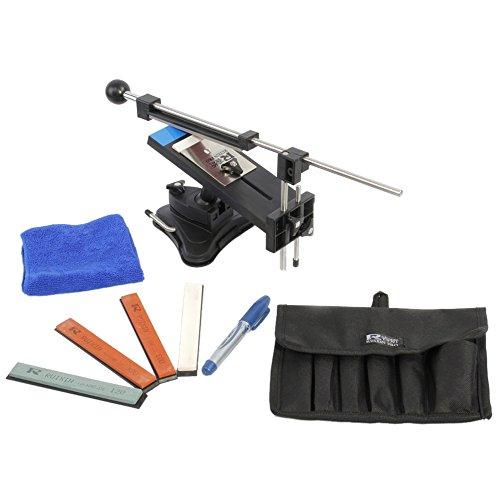 KKmoon Verbesserte Version Festwinkelmesserschärfer Profi Küchenmesser Sharpener Kits System 4 Schleifsteine   Schwarz - Stein-küche Messerschärfer