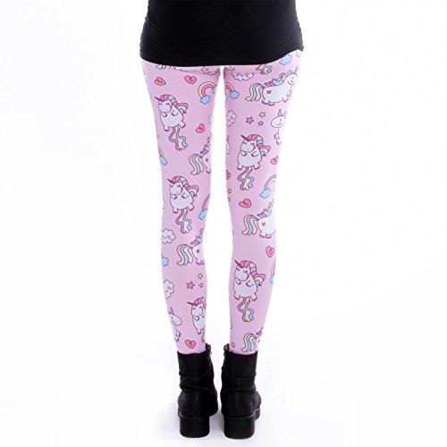 cosey - bedruckte bunte Leggings (Einheitsgröße) verschiedene Designs Einhörner Pink