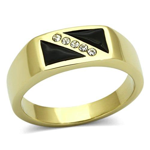 ISADY - SashaOr - Herren-Ring - 585er 14K Gold platiert - Zirkonium und Email schwarz - T 70 (22.3) (Ringe Gold 14k Schmuck)