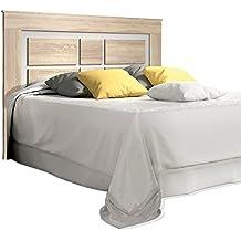 HomeSouth - Cabezal para cama de matrimonio, cabecero modelo Lara, color Cambria y Blanco, medidas: 160 x 119,3 x 3,8 cm de fondo.
