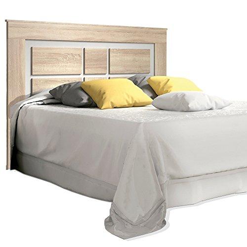 HomeSouth Cabezal para cama de matrimonio, cabecero modelo Lara, color Cambria y Blanco, medidas: 160 x 119,3 x 3,8 cm de fondo.