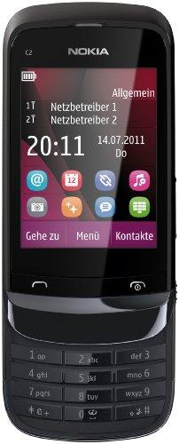 Nokia Nokia C2-03 Handy (Dual SIM, Touchscreen Slider, 2MP Kamera, Bluetooth) chrom schwarz