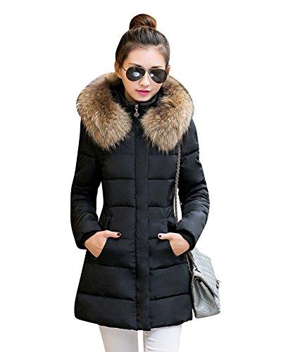 Laozan inverno donna lungo giacca spessore sottile cappotto imbottito con pelliccia ecologica cappuccio nero s