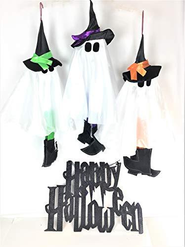 -Dekoration für Zuhause oder Party, lustige Ghosts und schwarzer Glitzer Happy Halloween Schild, Set von 4 Stück ()