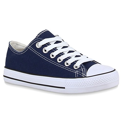 Stiefelparadies Damen Herren Sneakers Kult Sportschuhe Freizeit Schnürer 59979 Dunkelblau 43 Flandell